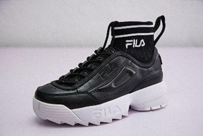 Mens Womens FILA Disruptor II EVO Sockfit Black White  d4b6083dc