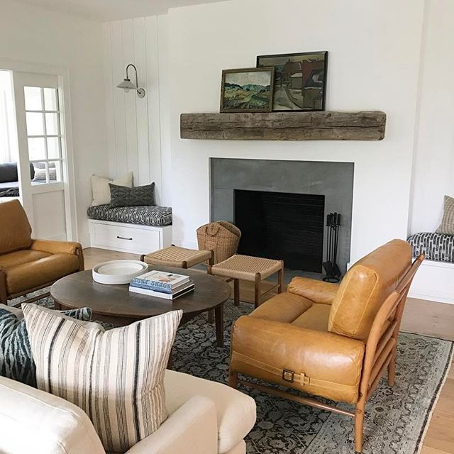Obsessed with the fireplace and built in benches in this room at #clienttupacmeetsbiggietodecoratethesediggies . What would you say the style is.. upscale farmy, country cool, east coast bougie hippy? None of the above?? #crappyiphonepicsaremyjam