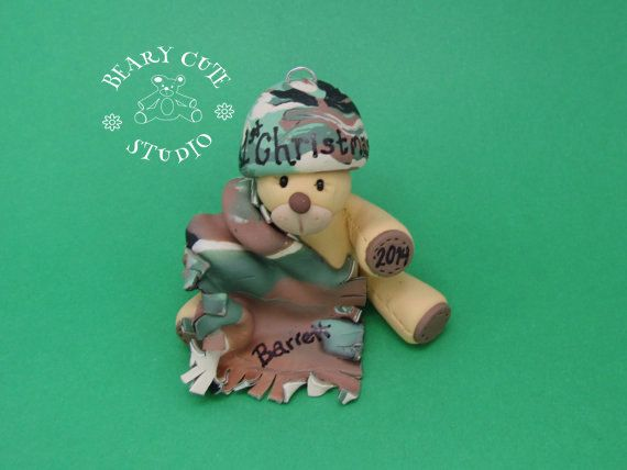 Baby's first Christmas Ornament, Camo bear ornament, unique Christmas ornament, personalized ornaments, baby bear cake topper