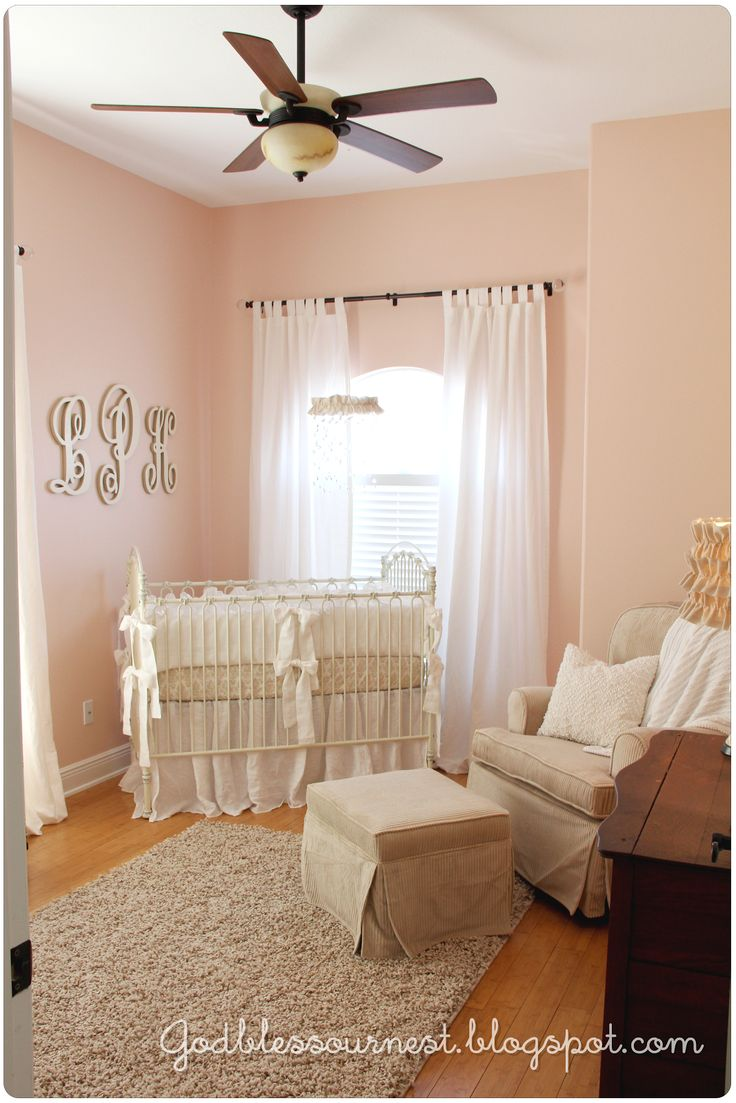 coral blush & khaki/muslin baby girls nursery God bless {our} nest: Lily Kate's Nursery