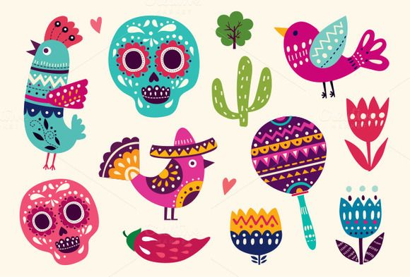 Vector set of Mexican illustrations by MoleskoStudio on @creativemarket