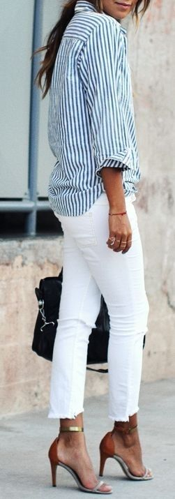striped shirt, white jeans, strappy sandals #striped