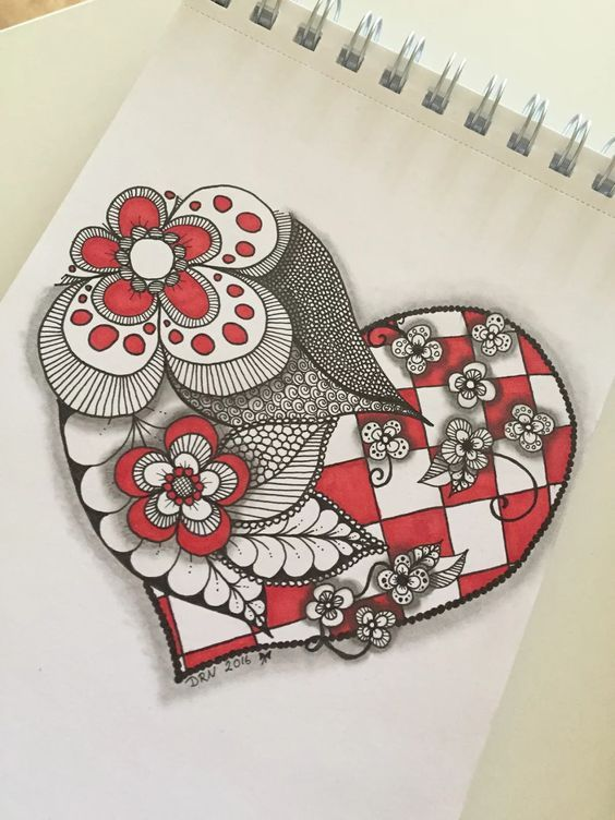 flowers, heart, zentangle