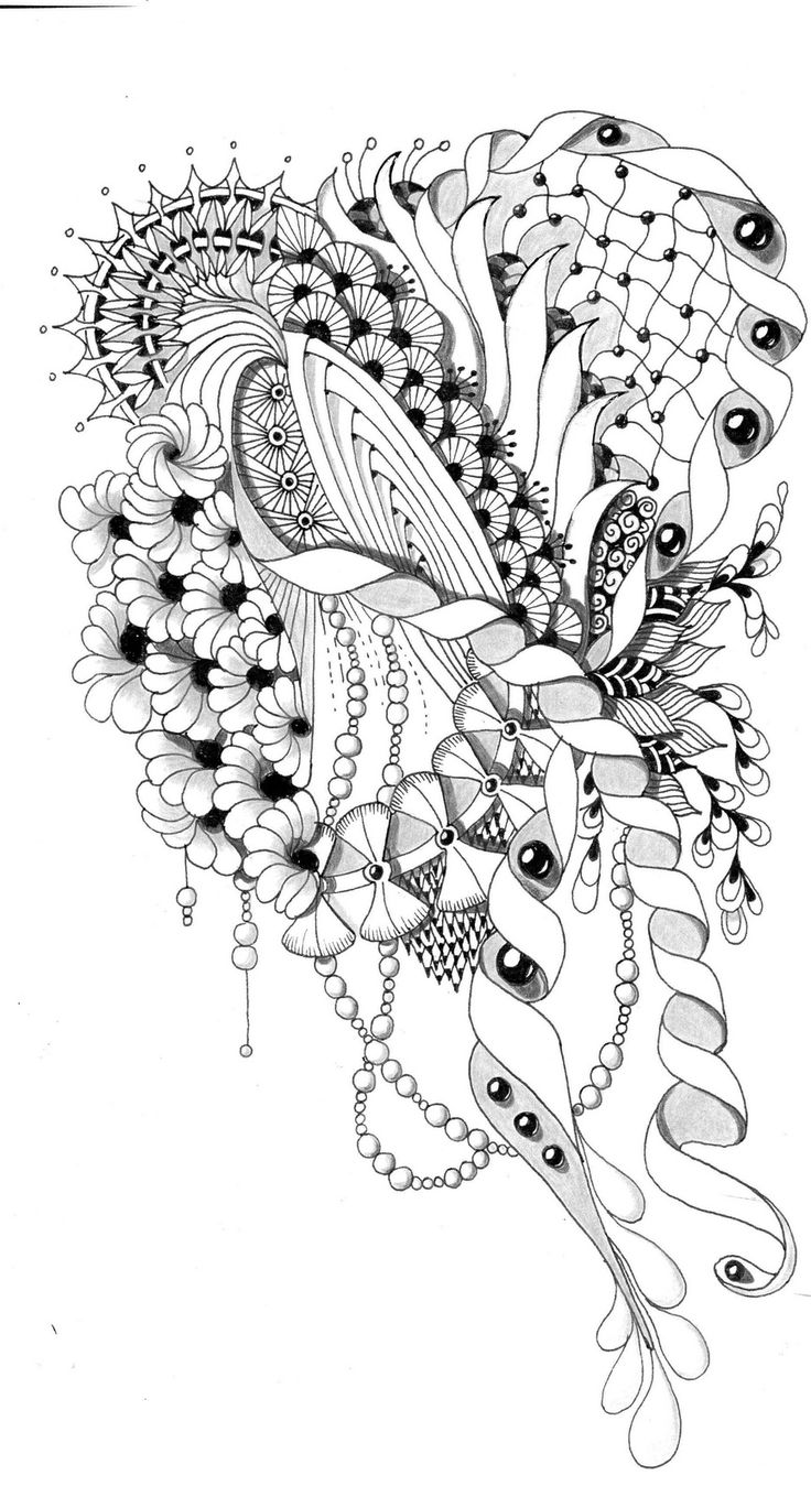 Zen doodle colour - Flower Abstract Doodle Zentangle Coloring Pages Colouring Adult Detailed