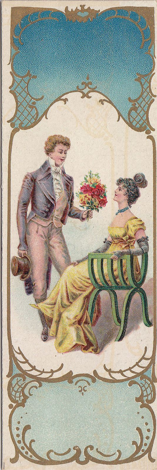 https://flic.kr/p/oBJNDn | chromo bookmark bougies bollinckx  - anderlecht   - man presenting seated woman with flowers: