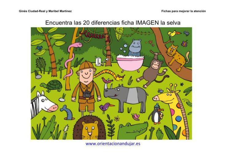 Encuentra las 20 diferencias ficha color la selva a4 imagen_1