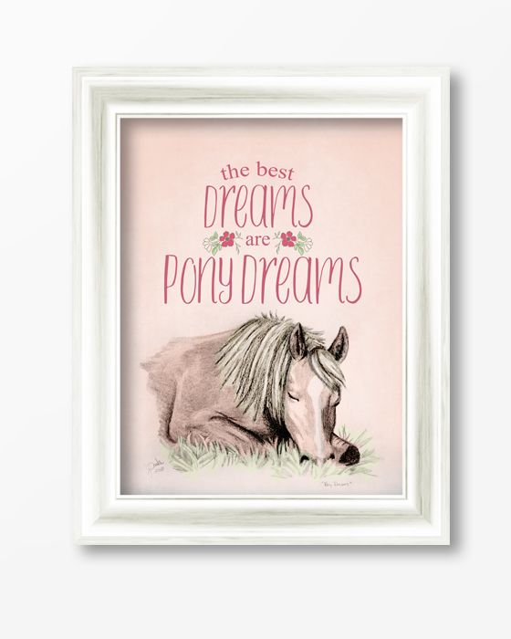 pony dreams equestrian typography print the painting pony great decor piece for the horse little girl - Young Girls Bedroom Design