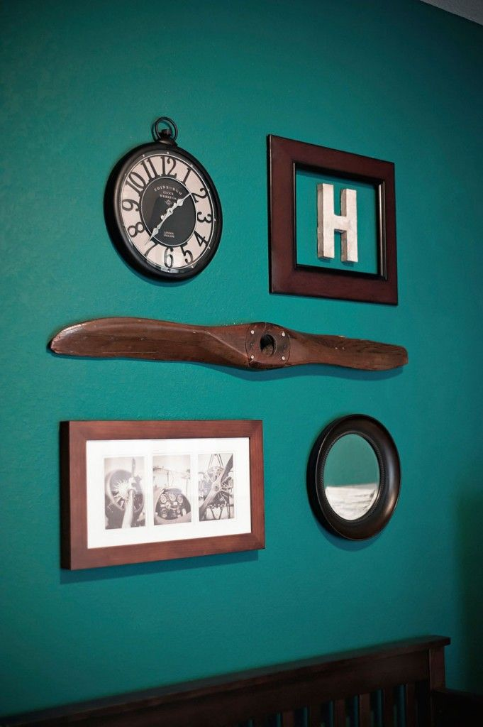 vintage propeller, clock, initial, photos of planes and mirror