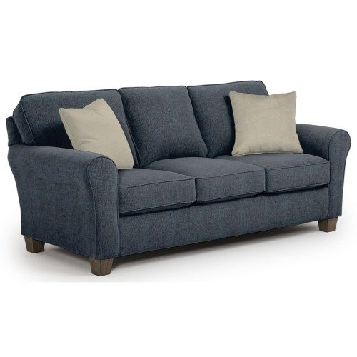 Best Home Furnishings Annabel Customizable Transitional Sofa with Rolled arms and Tapered Block Legs