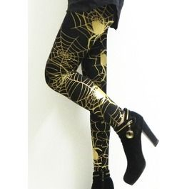 Womens Spiders Web Gold Leggings