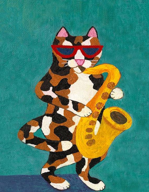 Calico Cat Playing Saxophone