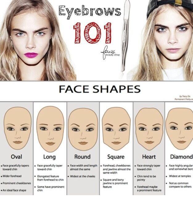 Eyebrows 101 | Eyebrows, Diamond face, Face shapes