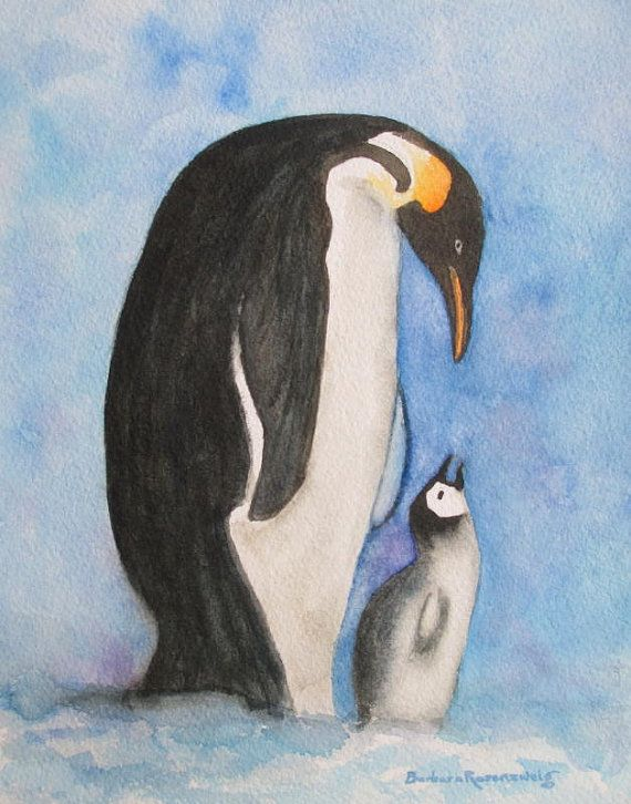 How precious! Mother & Child Penguin Watercolor Painting - Penguin Art Print Bird by Barbara Rosenzweig