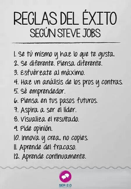 Las reglas necesarias para lograr el éxito según #SteveJobs