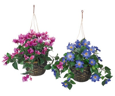 Fake flowers hanging basket at Michael's?