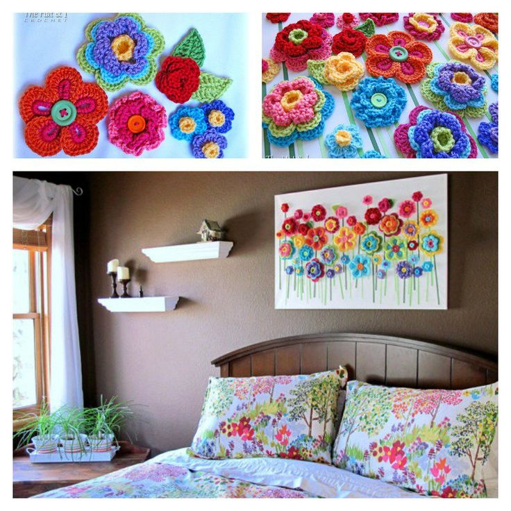 DIY Lovely Crochet Flowers Canvas with Free Pattern-2