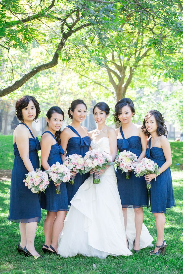 Robyn & Her Girls  l  Photography by Rhythm Photography  l  Robyn's beautiful bridesmaids are wearing Amsale Bridesmaids in French Blue available at Pearl Bridal House.