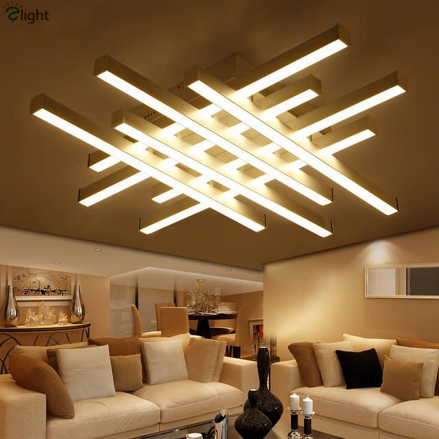 Modern Geometric Metal Dimmable Led Ceiling Lights Luster Acrylic