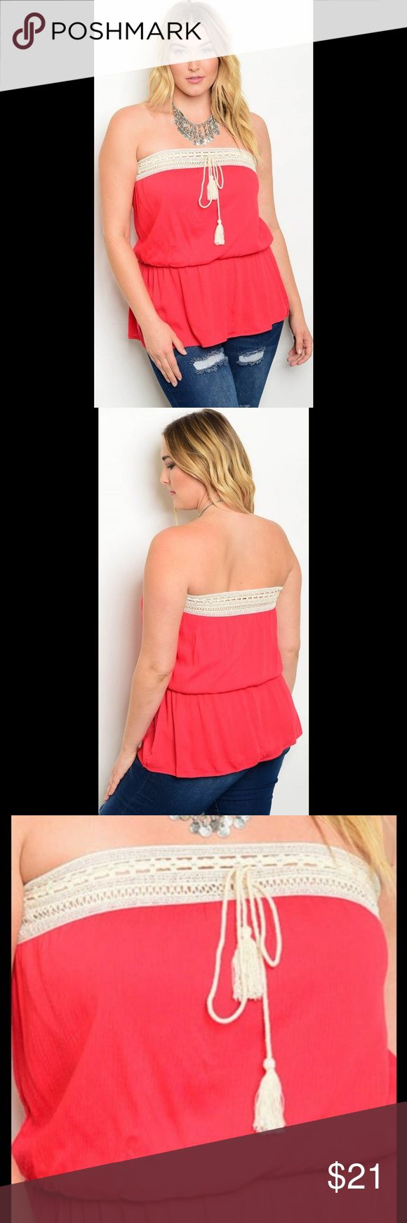 ✴~candyce~ top/ruby red✴plus size ✴this delightful tube top with a smock waist and delicate crochet detail will flatter your shape and steal hearts this summer!  ✴a wardrobe staple that will pair perfectly with a cute pair of shorts or capris and also dress up your favorite skirt and heels!!! ✴80% polyester/20% cotton ✴hand wash  price firm unless bundled no trades no holds Janette Plus Tops