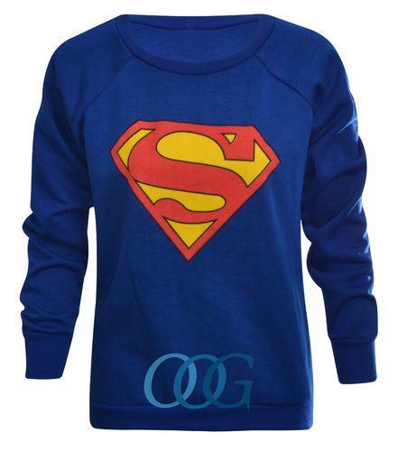 Sweatshirt Damen Superman Superfrau Superwoman Pullover Mit Aufdruck DE 36-42 | eBay