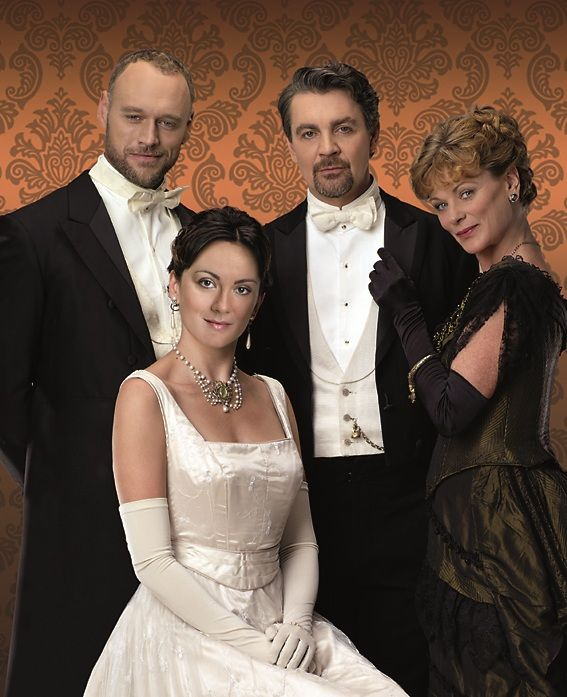 cast of Oscar Wilde# play 'An Ideal Husband' with Samantha Bond (right) playing Mrs. Cheveley at the Vaudeville Theatre, London 2010