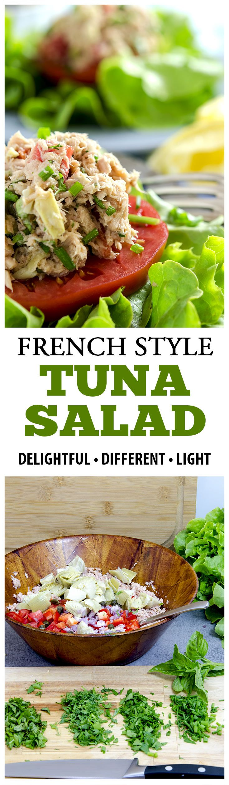 A fresh tuna salad is one of those perfect recipes for a hot summer day. An easy casserole for when you have guests over and you don't want to die of heatstroke in the kitchen. Now, we all know the benefits of eating tuna (and fish in general), but this salad will melt on your tongue! An ideal combination of tomatoes, shallots, artichokes, red pepper, and fresh herbs, all completing the canned tuna on a bed of lettuce! It's so simple. And simply the best!