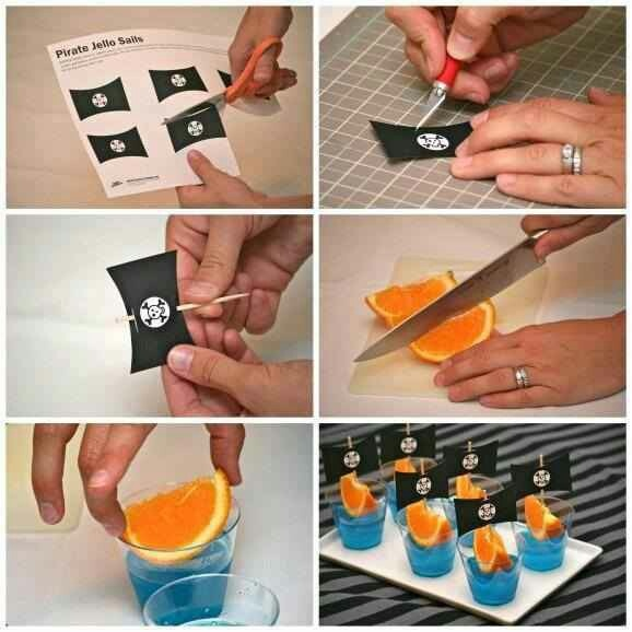 DIY Pirate ship flags on toothpicks with orange wedge & jello