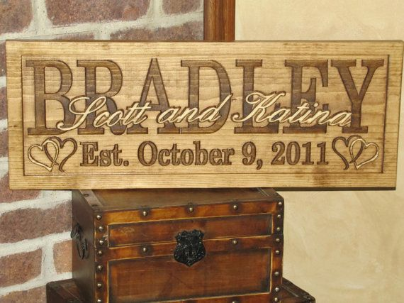 Personalized Wedding Gift Family Name Signs CARVED by Lovejoystore