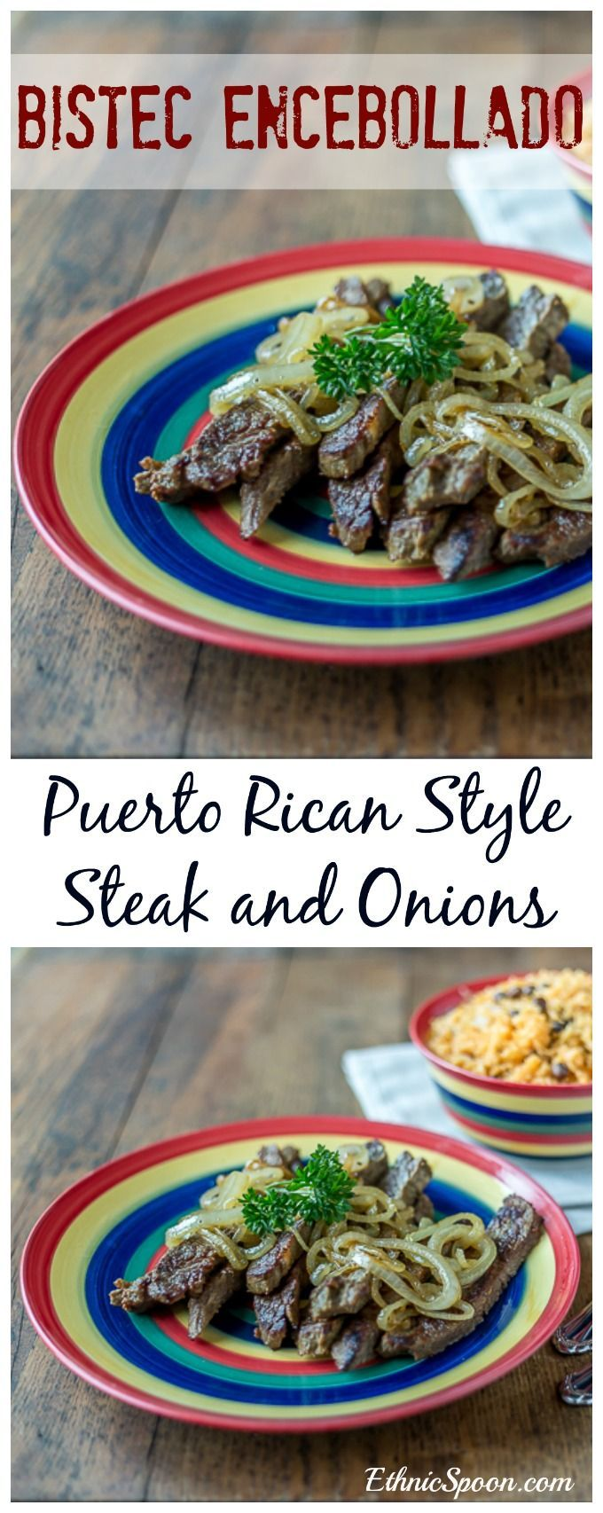Puerto Rican style bistec encebollado or steak and onions with bold spices and an nice sear. Que Rico! #bistec #steak #puertoricanfood #latinfood #pr  | ethnicspoon.com