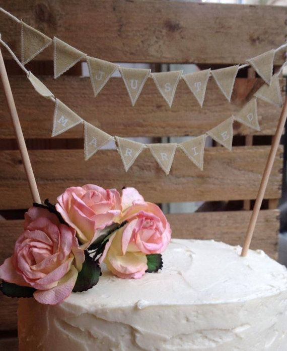 Just Married Vintage Bunting Cake Topper by VeryVintageBoutiques