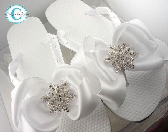 Bridal Flip Flops Bride Wedding Satin Rhinestone Flower Bow Flip Flops, White Bride Wedding Ribbon, Great for brides, bridesmaids on Etsy, $38.00