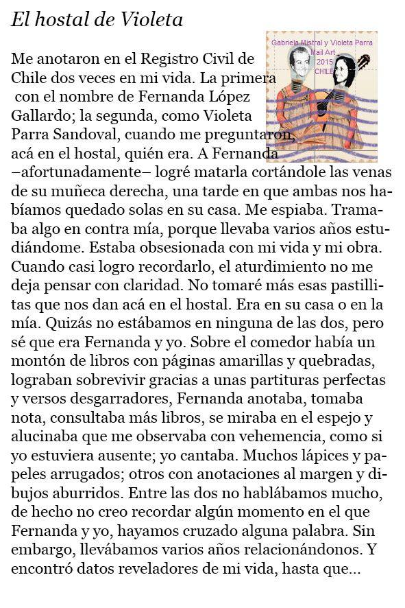 Gabriela Mistral y Violeta Parra: EL HOSTAL DE VIOLETA - FELIPE VALDIVIA (Chile)
