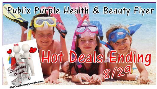 Here's some HOT Publix deals that are ending 8/29 with the current Purple Health & Beauty Flyer! Not much time!  Click the link below to get all of the details ► http://www.thecouponingcouple.com/publix-hot-purple-flyer-deals-ending-8-29-14/