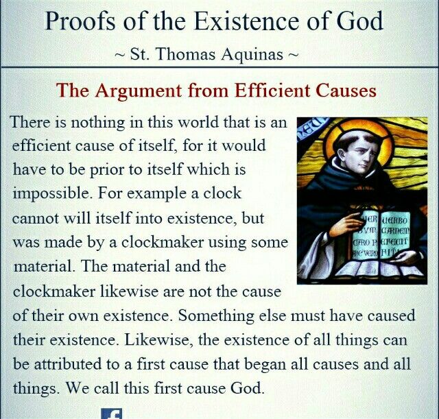 the two way in which st thomas aquinas proves the existence of god Saint thomas aquinas was a 13th century italian philosopher and theologian (b)  present aquinas' second way to prove that god exists (1) the natural world.