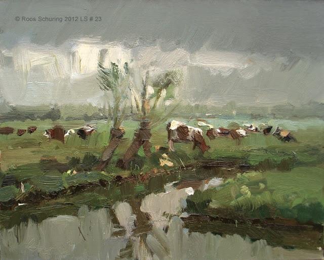 Roos Schuring (dutch painter) Landscape spring #23 Willows ditch cows - Koeien