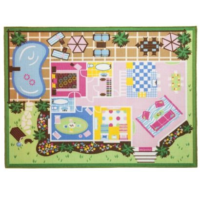 Rugged Wearhouse Circo Girl Dollhouse Activity Mat Area Rug click image to zoom