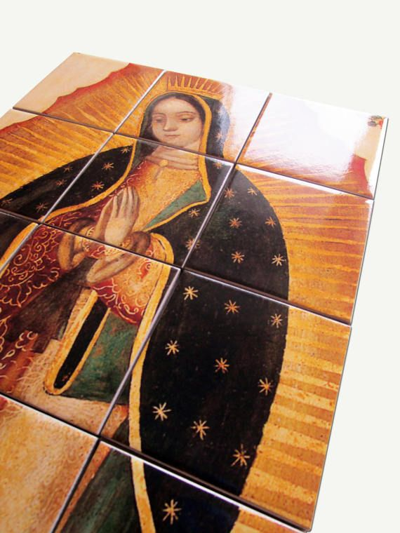 New tile mural available - The #Virgin of #Guadalupe 👉https://www.etsy.com/listing/505775700 inspired by an old #mexican painting Suitable indoor and outdoor - Ready to hang - composed by 12 ceramic tiles. 100% #handmade in Italy by TerryTiles2014 #faith #virginmary #art