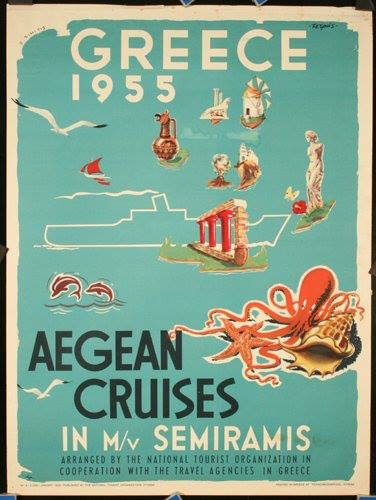One of the first #Greek #posters for tourism, back in 1955. #Aegean #cruises #PloosDesign