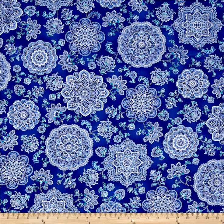Timeless Treasures Dutchess Metallic Medallions Blue from @fabricdotcom  Designed by Chong-a-Hwang for Timeless Treasures, this cotton print fabric features beautiful, metallic medallions. Perfect for quilting, apparel and home decor accents. Colors include white, metallic silver and shades of blue.