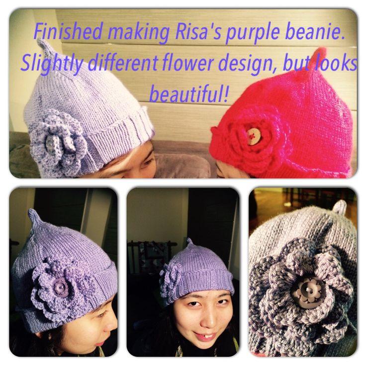 Purple beanie with slightly different crochet flower.