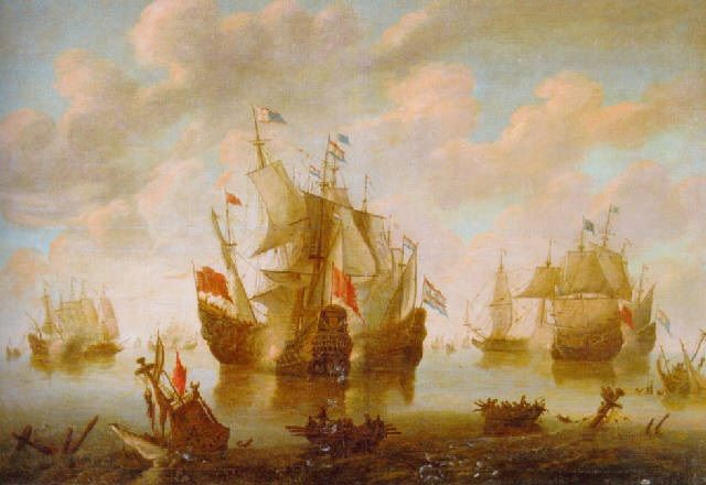 A battle during the first Anglo-Dutch War of 1652-54 by Hendrich van Minderhout