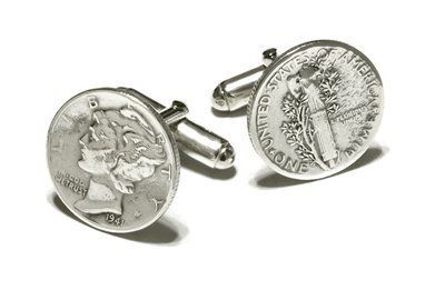 Mercury Dime cufflinks with sterling silver fittings. Made in the USA Cufflinks House. $59.00. Quality craftsmanship and superb styling. Made in the U.S.A. Presentation boxed