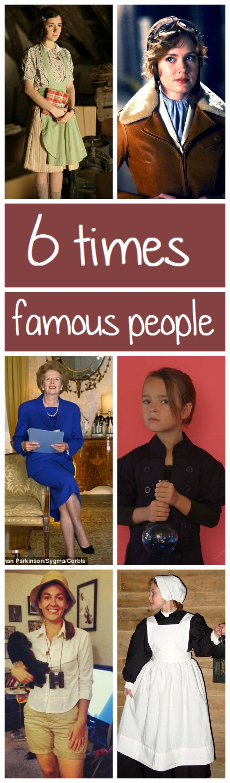 Costume ideas inspired by famous people like: Anne Frank, Emilia Earhart, Margareth Thatcher, Madam Curie, Florance Nightingale, Jane Goodall