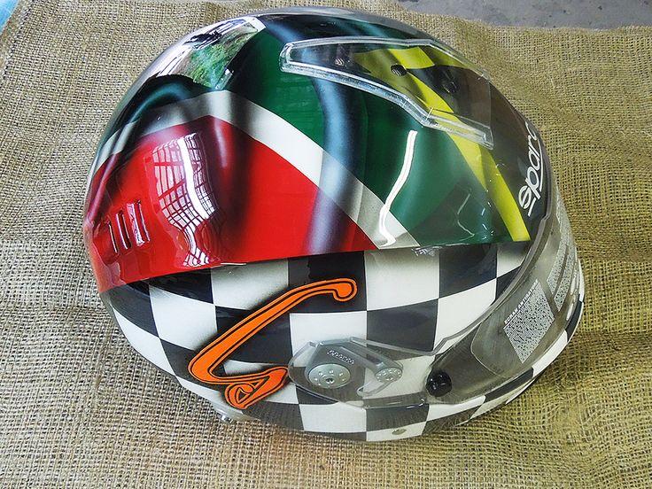 South Africa flag inspired custom helmet, painted by PAZ.