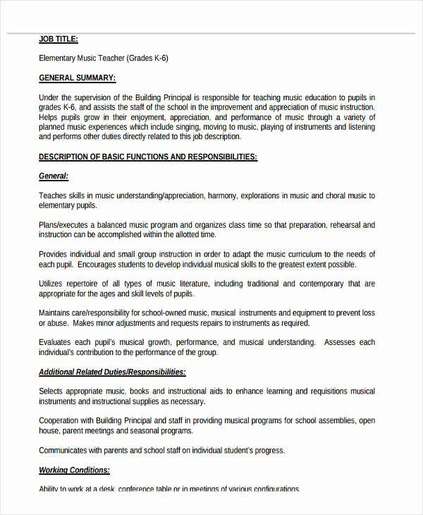 Music Teacher Resume Examples Best Of 20 Teacher Resume Templates Pdf Doc Teacher Resume Examples Teacher Resume Template Teacher Resume