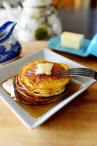Sour Cream Pancakes. I subbed plain greek yogurt for the sour cream to up the nutrition factor and some freshly grated lemon zest instead of vanilla extract. They spread quite a bit more than you'd expect, so give them room when adding to the pan. They are so fluffy and tender with only 7 TBSPs of flour!  Give them a try!