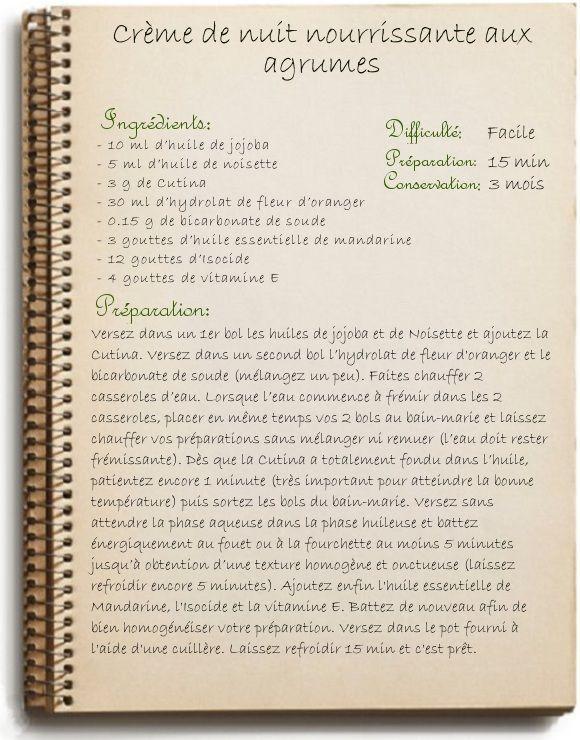 Cosmétique maison: Crème de nuit nourrissante aux agrumes