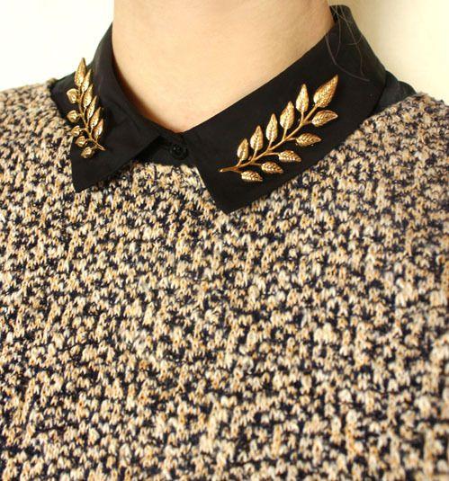 2015新しいレトロファッション葉の襟ピンブローチ襟シャツの襟ピンブローチバックル襟クリップ用女性