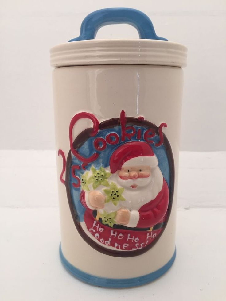 Christmas Santa Claus White Cookie Jar Biscuit Lolly Jar Tubular Canister