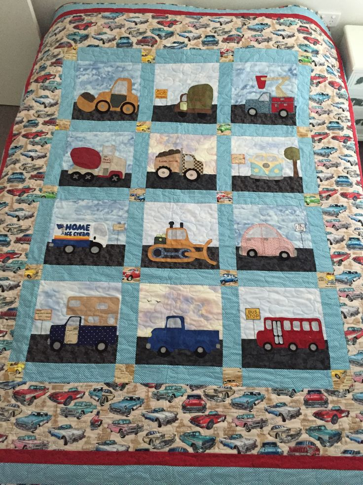 Luca's Quilt. Made this for my grandson who loves vehicles.